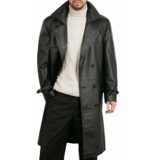 Augusta Guys Black Double Breasted Leather Overcoat