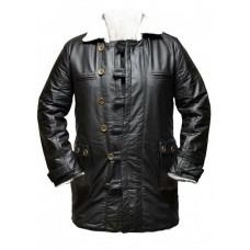 Dark knight Rises Bane Genuine Leather Buffing Black Trench Coat/Jacket