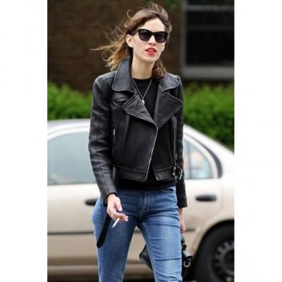 Alexa Chung Slim Fit Black Biker Stylish Women Leather Jacket Explore designer leather jackets today at farfetch. alexa chung slim fit black biker