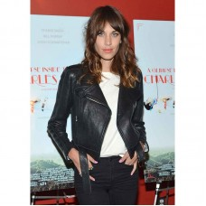 Alexa Chung Slim-Fit Black Biker Stylish Women Leather Jacket