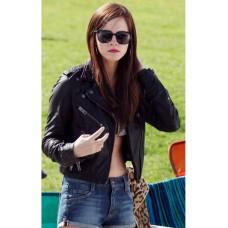 Biker Style Emma Watson Cropped Black Leather Jacket