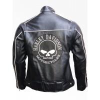New Men's Harley Davidson Reflective Willie G Skull Leather Jacket