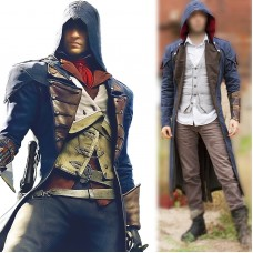 Assassin's Creed Unity Arno Victor Dorian Denim Cosplay Hoodie Coat