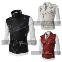 Men's Sleeveless Jacket Style Motorcycle Biker Vest
