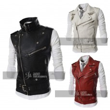 Men's Sleeveless Jacket Style Motorcycle Biker Vest